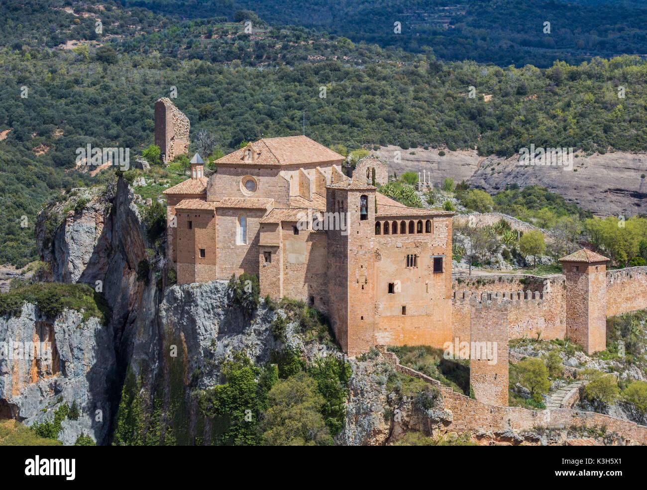 Spain, Huesca province, Alquezar City, Santa Maria Colegiata - Stock Image
