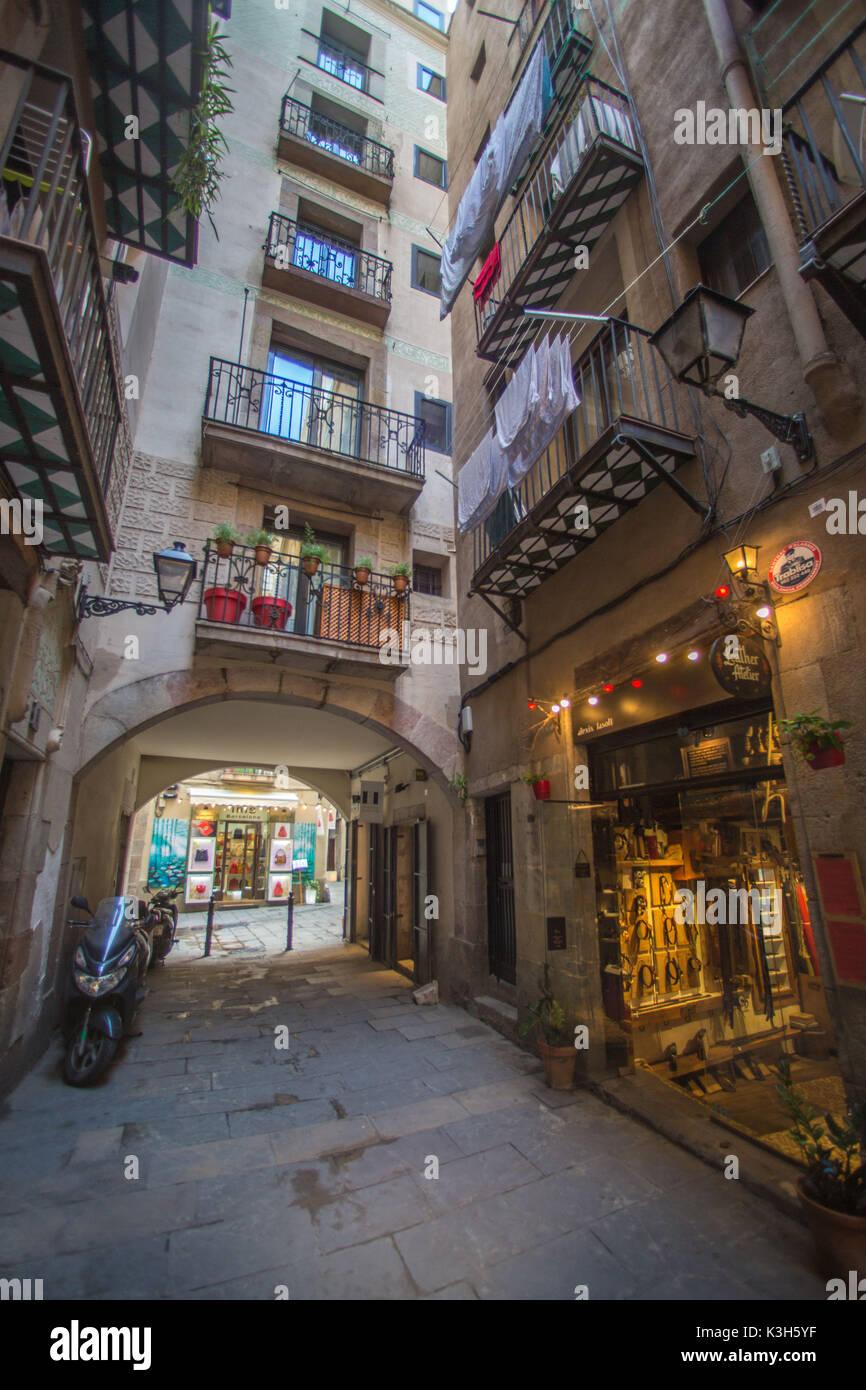 Spain, Catalonia, Barcelona City, Santa Maria del Mararea, Barcelona Old Town - Stock Image