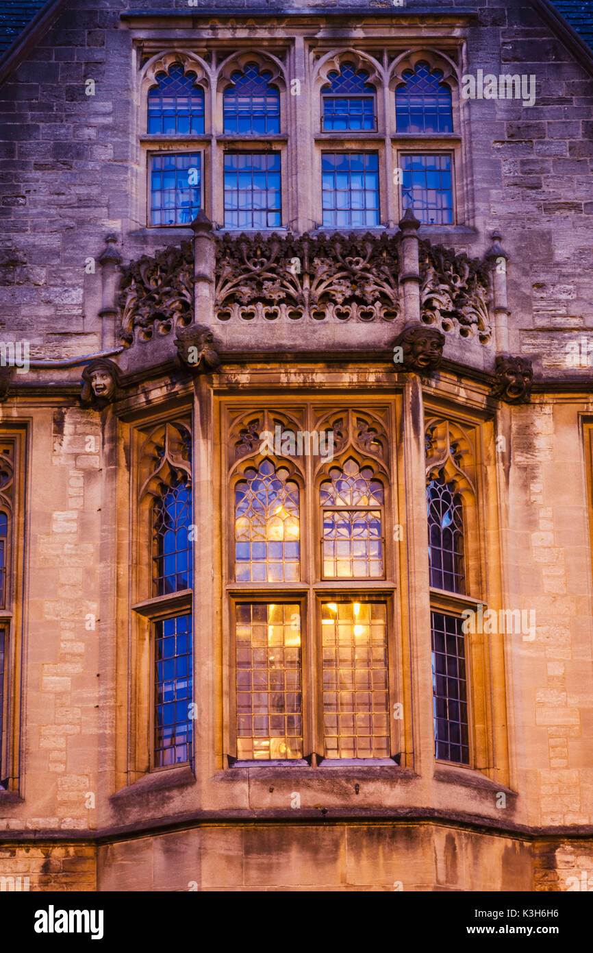 England, Oxfordshire, Oxford, Brasenose College, Window Detail - Stock Image