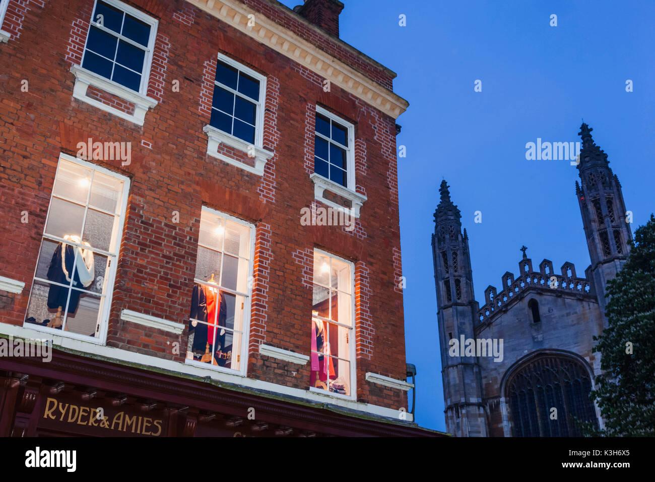 England, Cambridgeshire, Cambridge, Clothing Shop Window Display of Graduation Gowns - Stock Image