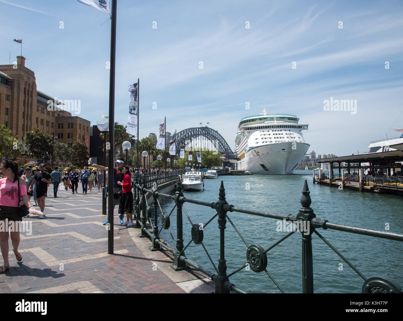 SYDNEY,NSW,AUSTRALIA-NOVEMBER 20,2016: Cruise Ship at the Overseas Passenger Terminal with tourists and waterfront views in Sydney, Australia - Stock Image
