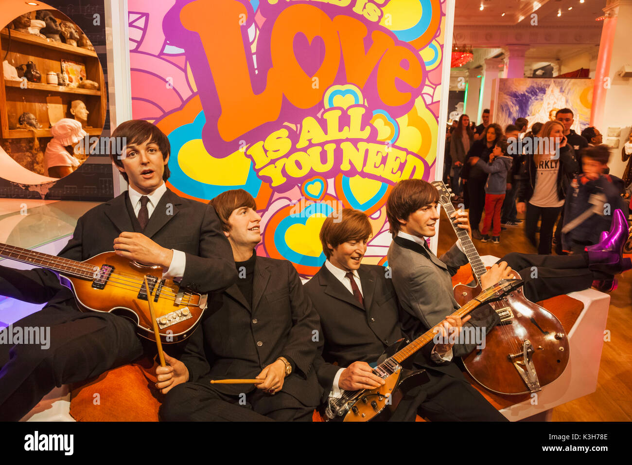 England, London, Madame Tussauds, Wax Figure of The Beatles - Stock Image