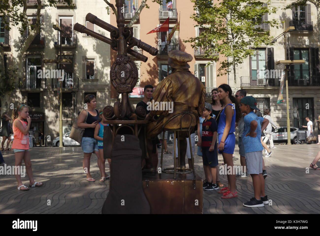 The Ramblas in Barcelona. - Stock Image