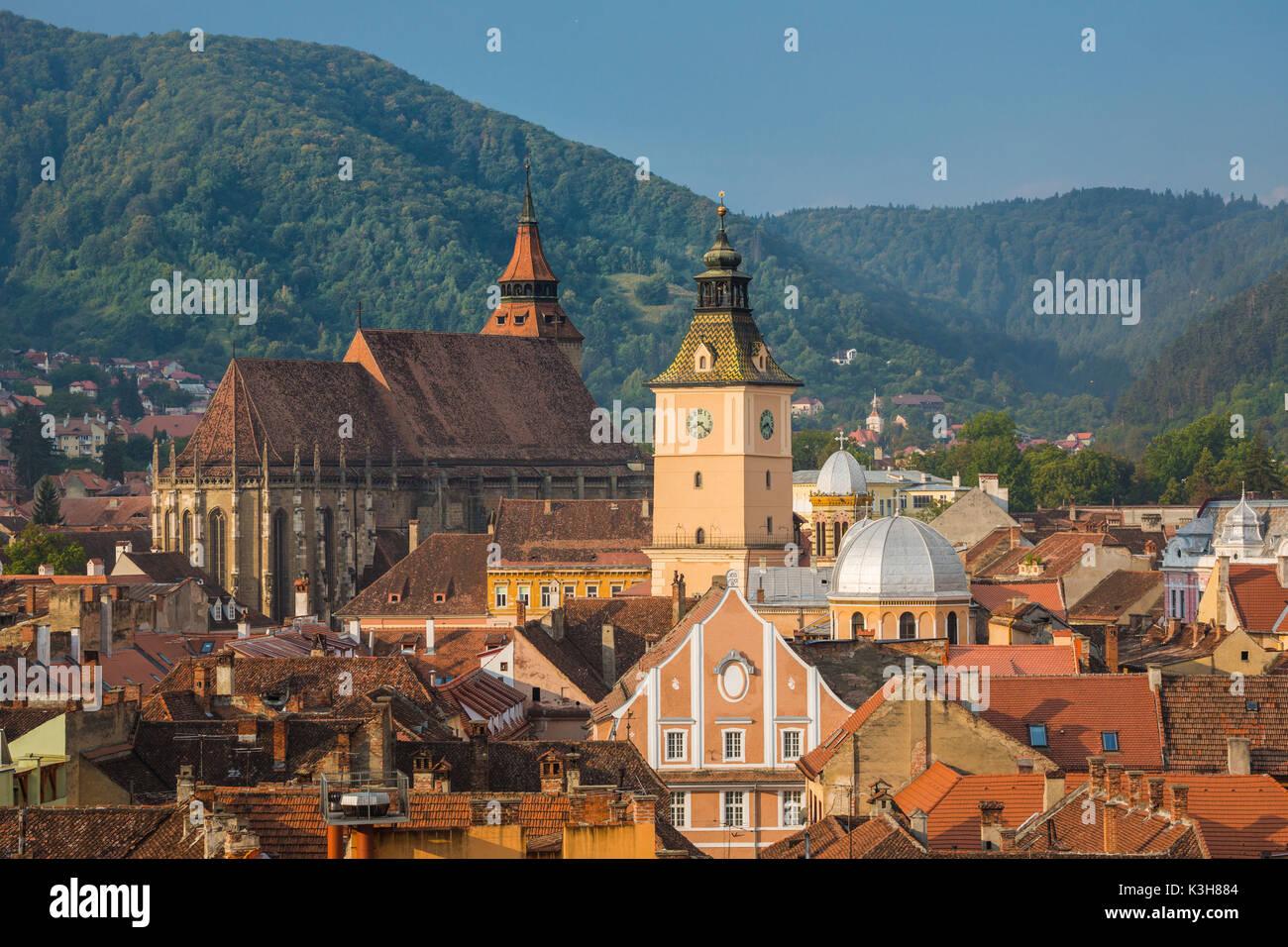 Romania, Transilvania, Brasow City The Black Chur Roof Stock Photo