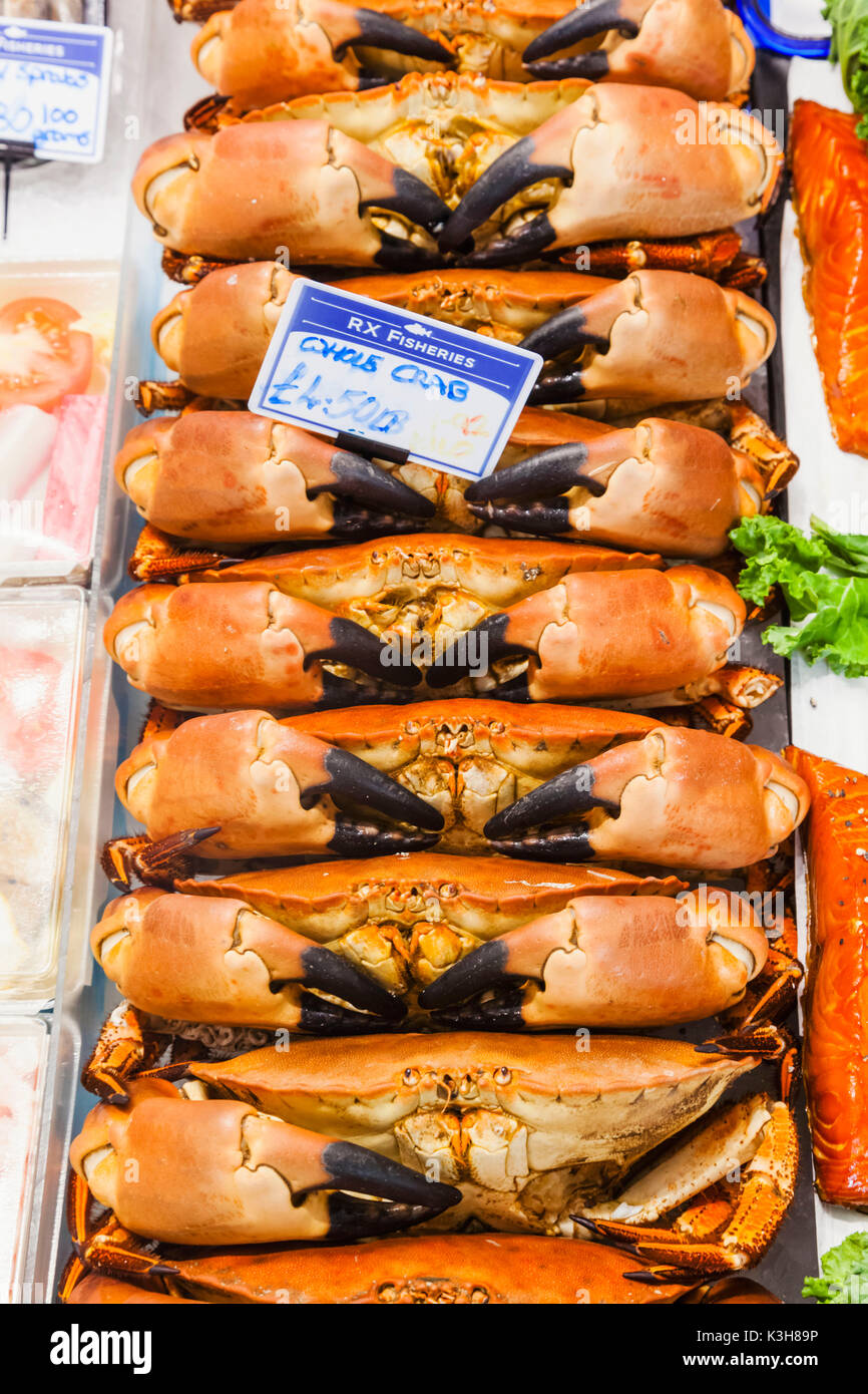 England, East Sussex, Hastings, Fish Shop Display of Crabs - Stock Image
