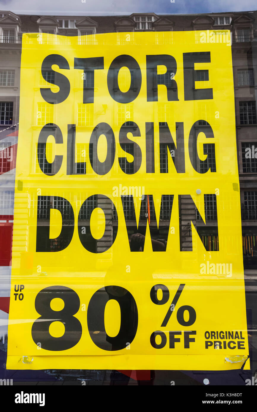 England, London, Regent Street, Store Closing Down Sign - Stock Image
