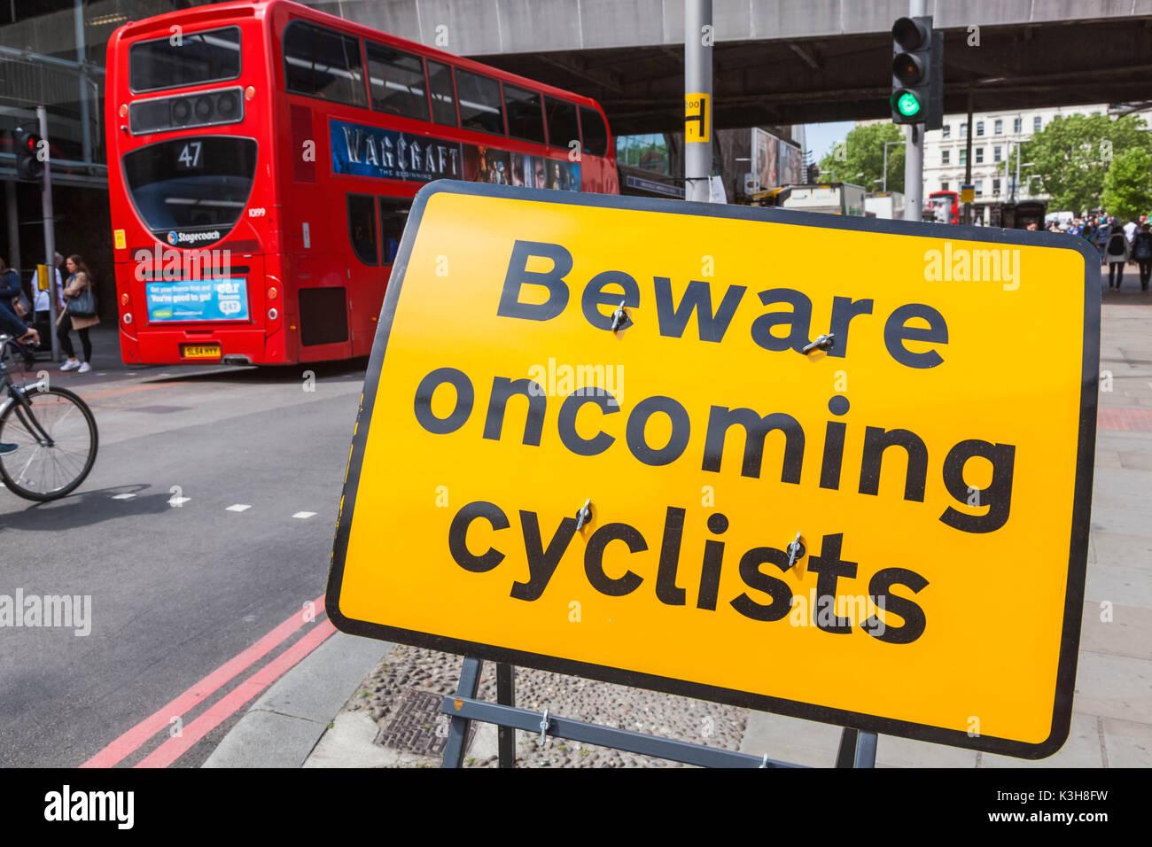 England, London, Southwark, Cyclist Awareness Sign - Stock Image