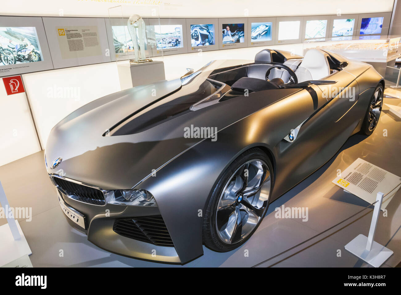 Germany, Bavaria, Munich, BMW Museum, Display of BMW Vision Connected Drive Cars dated 2011 - Stock Image