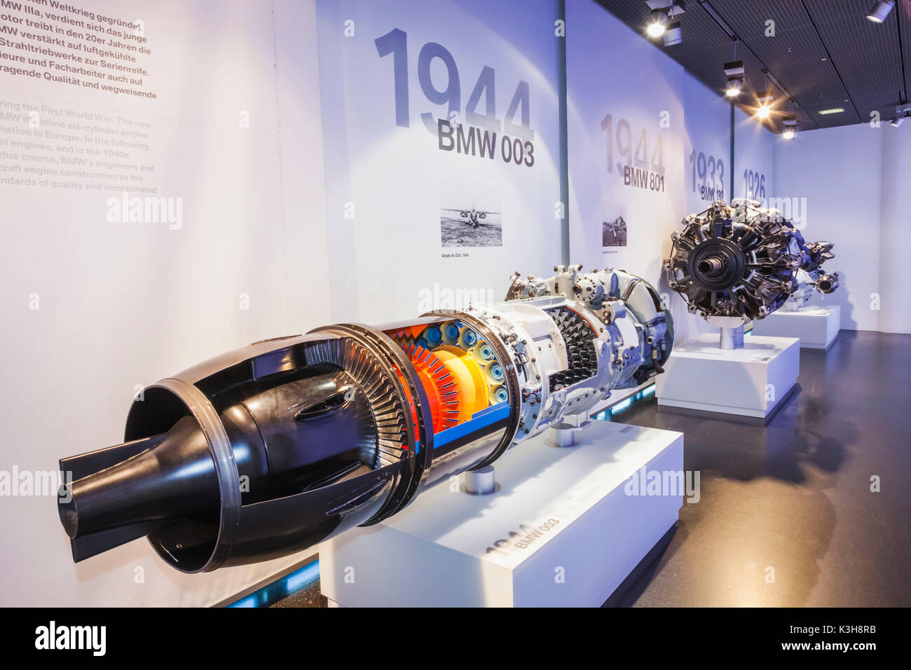 Germany, Bavaria, Munich, BMW Museum, Display of Historic Aeroplane Engines - Stock Image