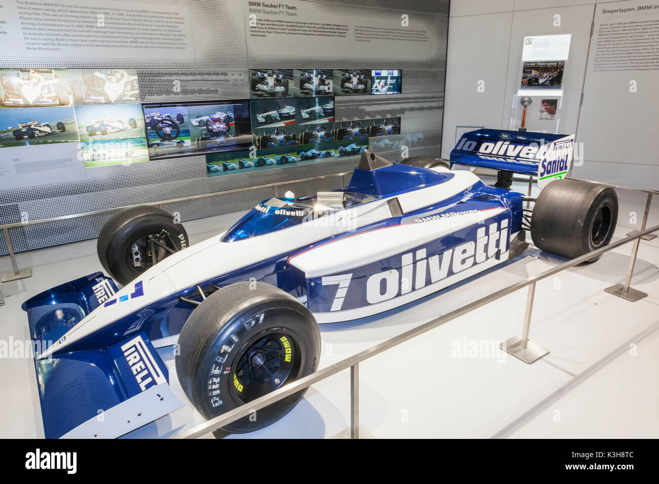 Germany, Bavaria, Munich, BMW Museum, Display of the Brabham BMW BT 52 Formula 1 Racing Car - Stock Image
