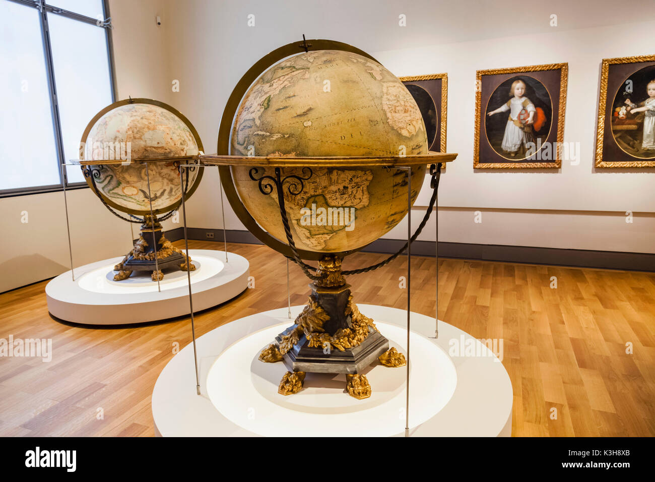 Germany, Bavaria, Munich, Bavarian National Museum, Terrestrial and Celestial Globes by Vincenzo Coronelli dated 1692 - Stock Image