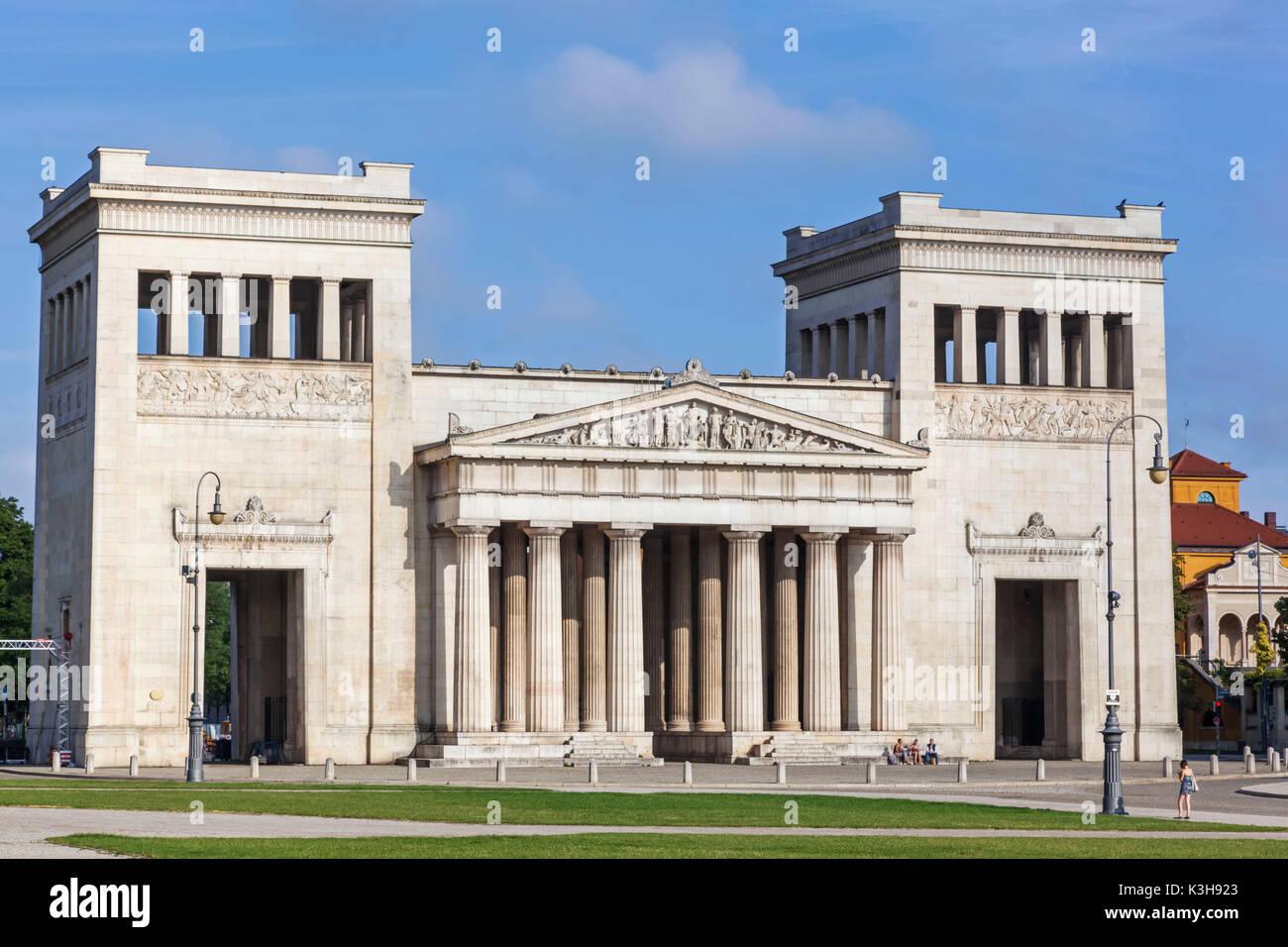 Germany, Bavaria, Munich, Glyptothek Museum, The Propylaea Gate - Stock Image