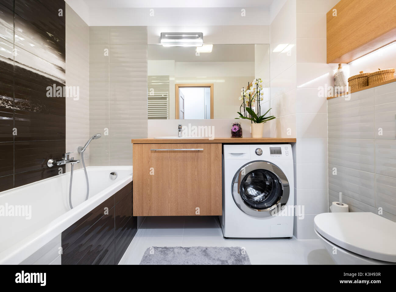 Modern Bathroom Interior Design In Wooden And Gray Finish Stock Photo Alamy