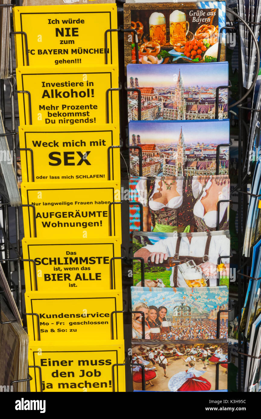 Germany, Bavaria, Munich, Marienplatz, Souvenir Stall Display of Postcards - Stock Image