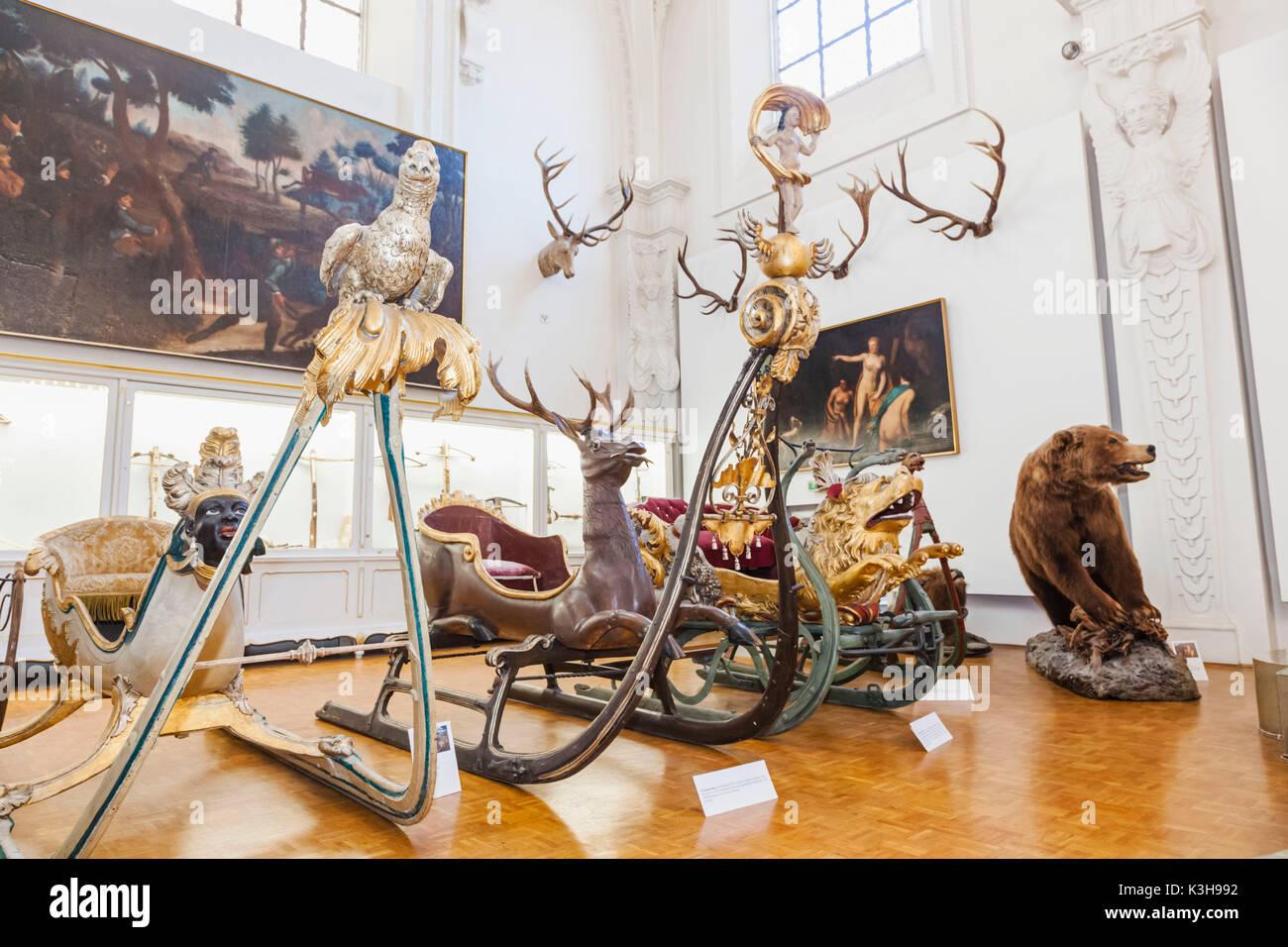 Germany, Bavaria, Munich, The German Hunting and Fishing Museum (Deutsches Jagd-Und Fischereimuseum), Exhibit of Historical Sleighs - Stock Image