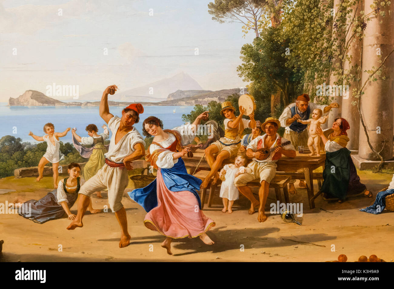 Germany, Bavaria, Munich, The New Pinakothek Museum (Neue Pinakothek), Painting titled 'Country Festival near Pozzuili' (Volksfest bei Pozzuoli) by Franz Ludwig Catel dated 1823 - Stock Image