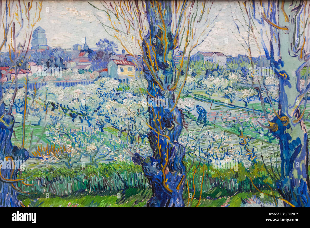 Germany, Bavaria, Munich, The New Pinakothek Museum (Neue Pinakothek), Painting titled 'View of Arles' (Blick auf Arles) by Vincent van Gogh dated 1889 - Stock Image