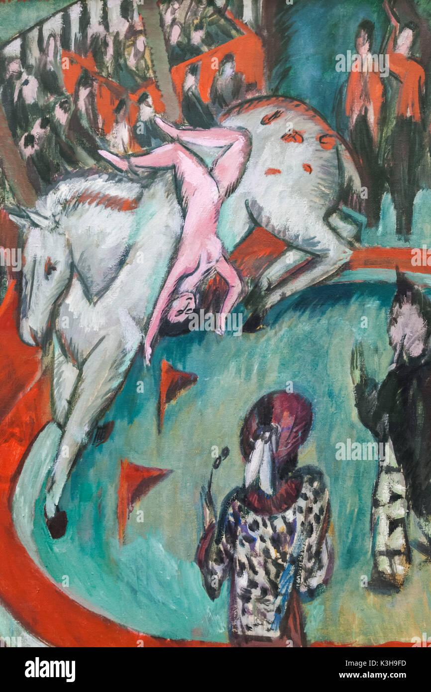 Germany, Bavaria, Munich, The Pinakothek Museum of Modern Art (Pinakothek der Moderne), Painting titled 'Cirkus' by Ernst Ludwig Kirchner dated 1913 - Stock Image
