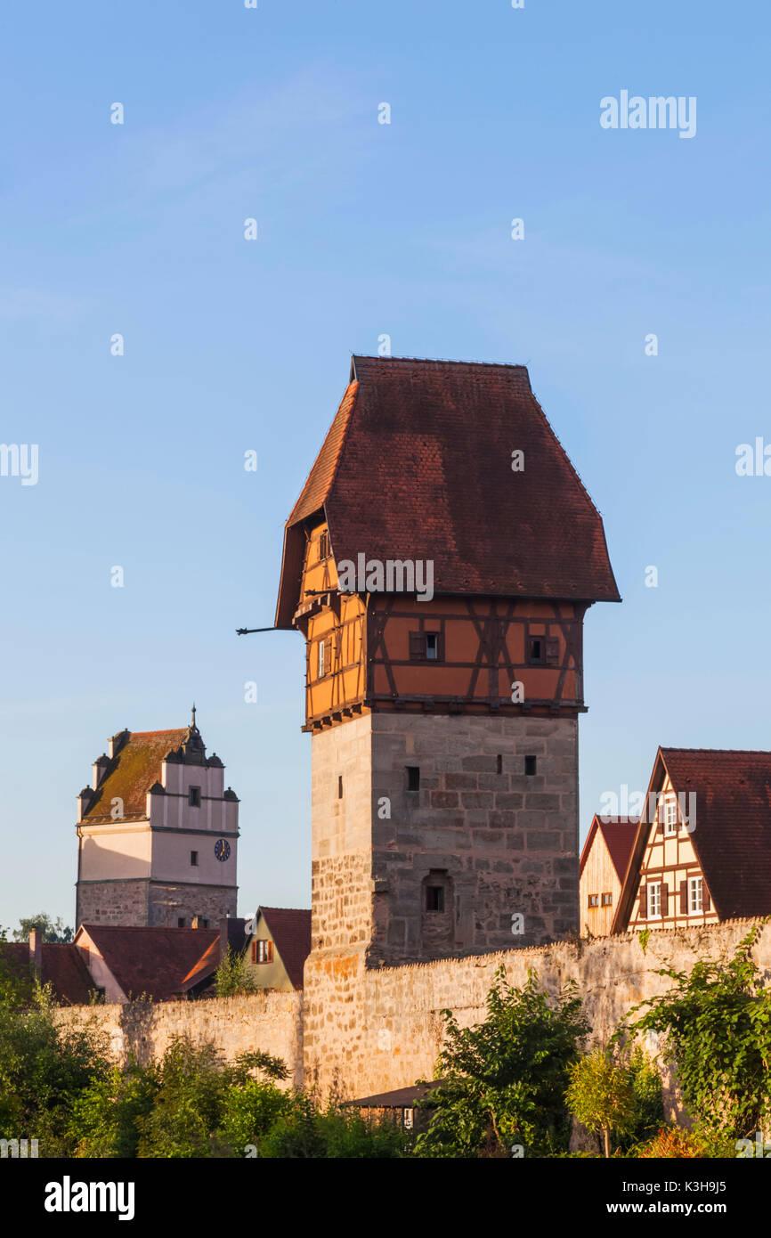 Germany, Bavaria, Romantic Road, Dinkelsbuhl, Town Skyline - Stock Image