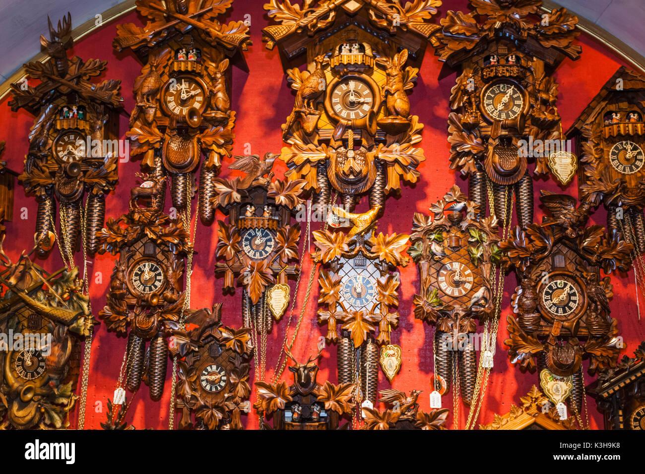 Germany, Bavaria, Romantic Road, Rothenburg-ob-der-Tauber, Kaethe Wohlfart Christmas Shop, Cuckoo Clocks - Stock Image