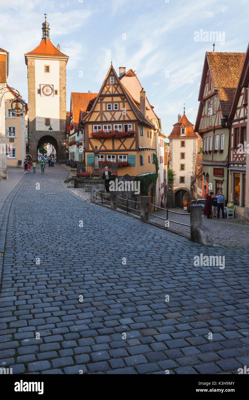 Germany, Bavaria, Romantic Road, Rothenburg-ob-der-Tauber, Ploenlein and Siebers Tower - Stock Image