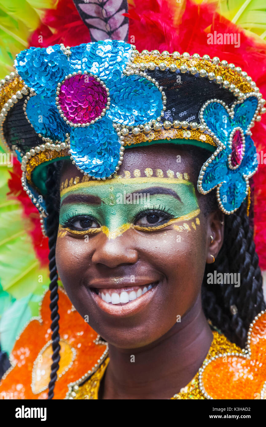 England, London, Notting Hill Carnival, Parade Participant - Stock Image