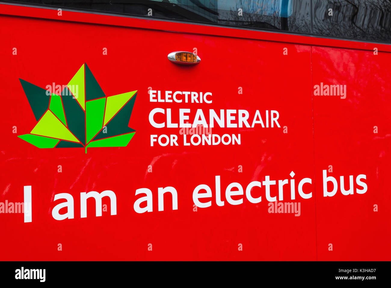 England, London, Electric Doubledecker Red Bus - Stock Image