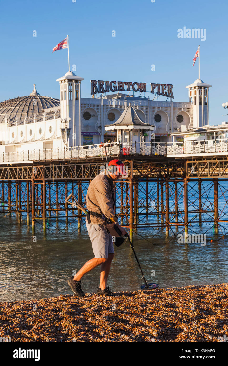 England, East Sussex, Brighton, Man with Metal Detector on Beach and Brighton Pier - Stock Image