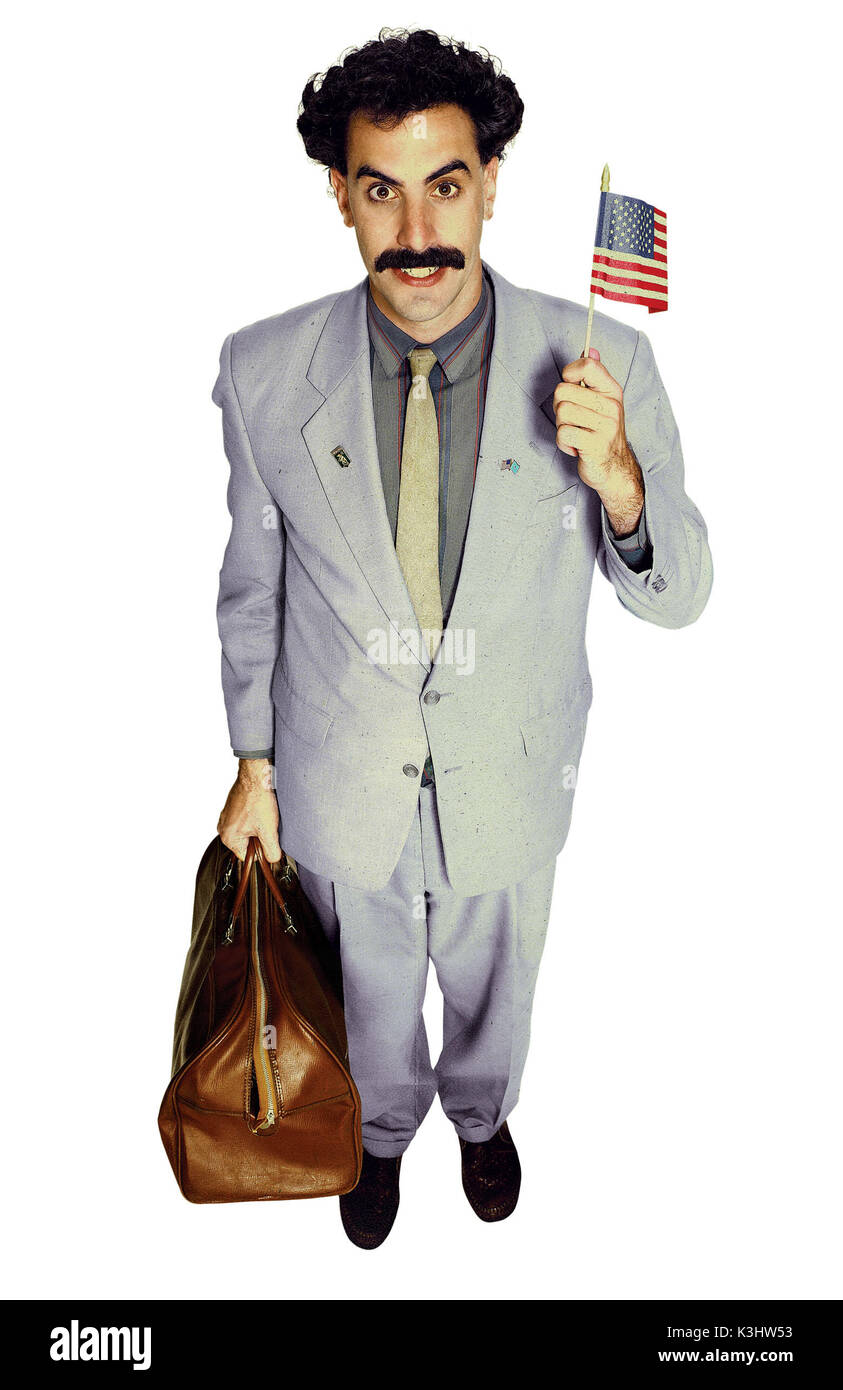 B-82A Jagshemash! Borat so excite to travel to U.S. and A! BORAT: CULTURAL LEARNINGS OF AMERICA FOR MAKE BENEFIT GLORIOUS NATION OF KAZAKHSTAN SACHA BARON COHEN as Borat     Date: 2006 - Stock Image
