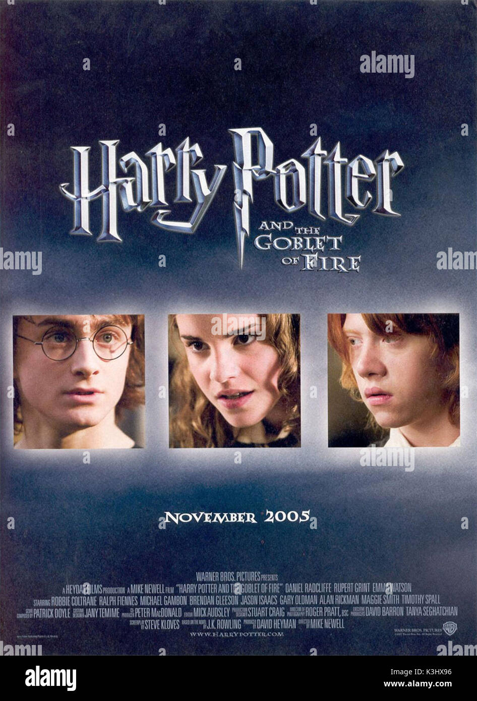 HARRY POTTER AND THE GOBLET OF FIRE DANIEL RADCLIFFE as Harry Potter, EMMA WATSON as Hermione Granger, RUPERT GRINT as Ron Weasley     Date: 2005 - Stock Image