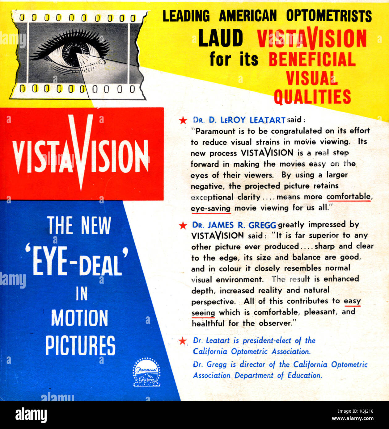 EXTOLLING THE BENEFITS OF THE NEW VISTAVISION SCREEN FORMAT - 1954 - Stock Image