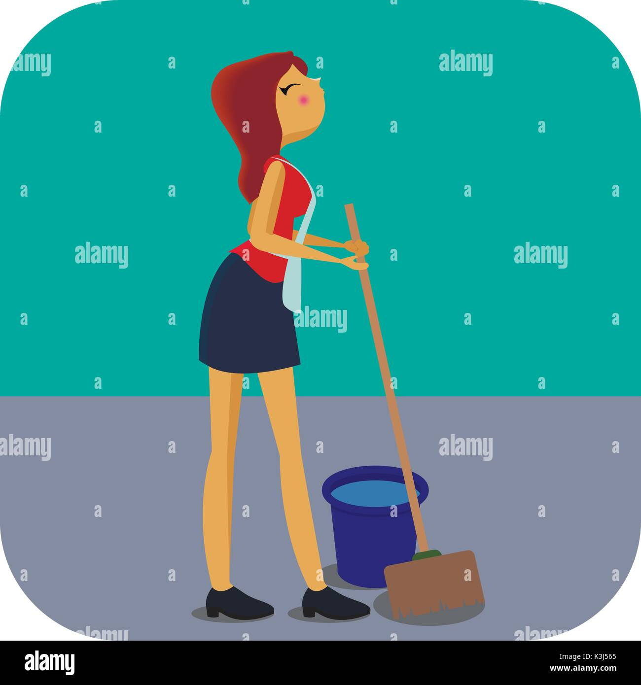 Cleaning Woman with Mop and Bucket - Stock Vector