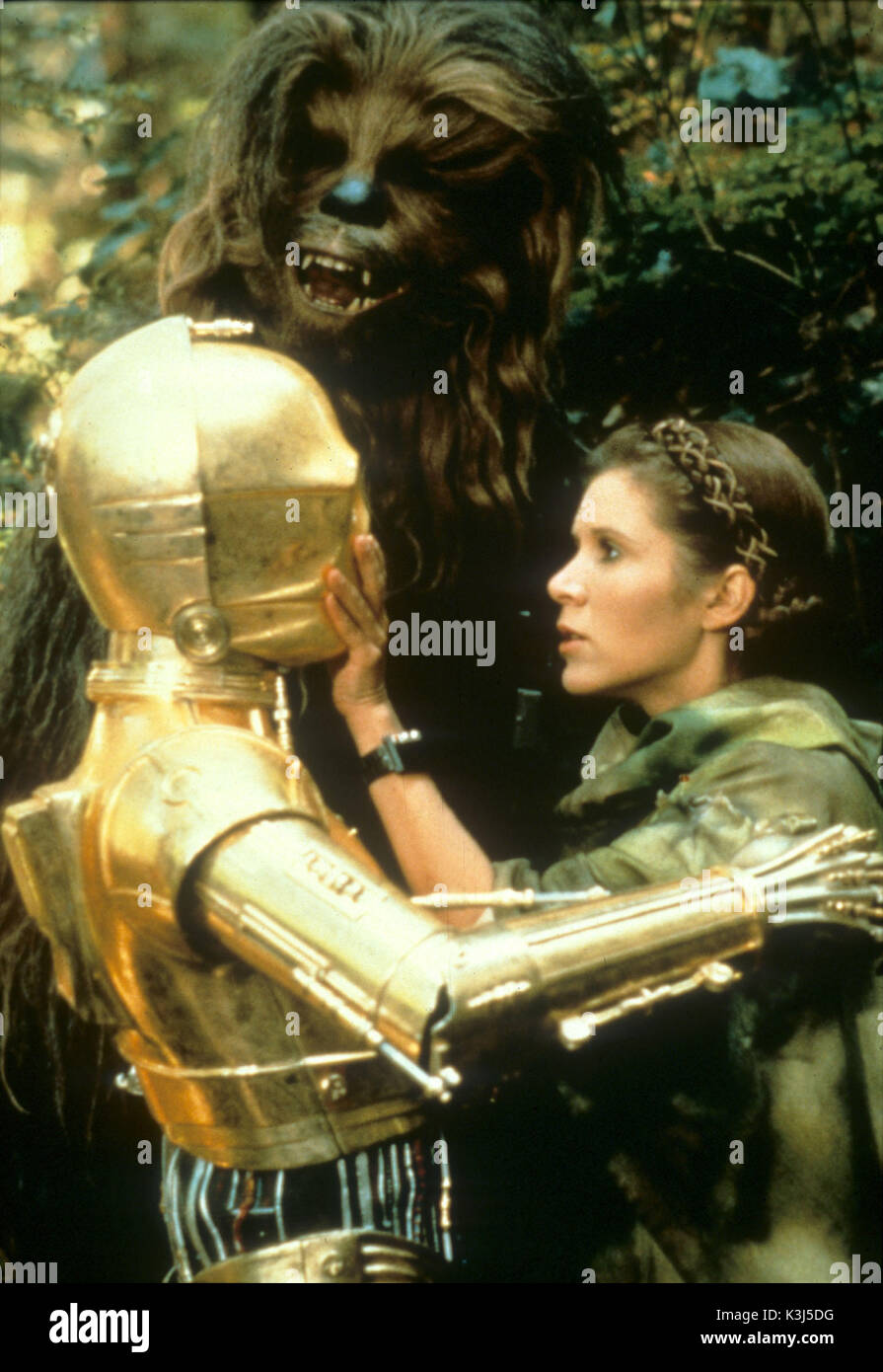 STAR WARS: EPISODE VI - RETURN OF THE JEDI STAR WARS: EPISODE VI - RETURN OF THE JEDI ANTHONY DANIELS as C-3PO, PETER MAYHEW as Chewbacca, CARRIE FISHER as Princess Leia - Stock Image