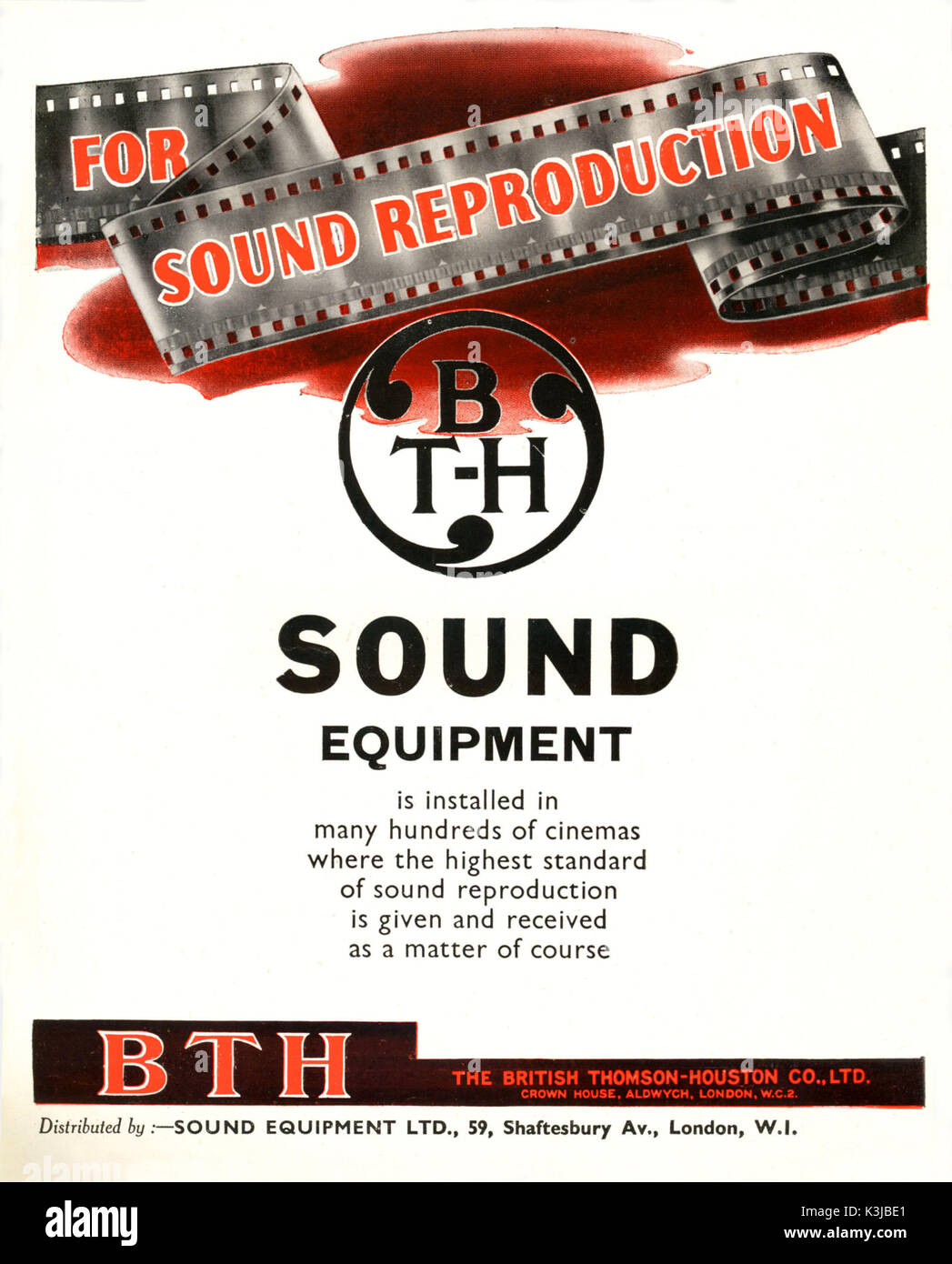 Advertisement for BRITISH THOMSON - HOUSTON sound film reproducing equipment, Although this ad focuses on sound, BTH also made and maintained the projectors for showing the picture part of the sound film - Stock Image