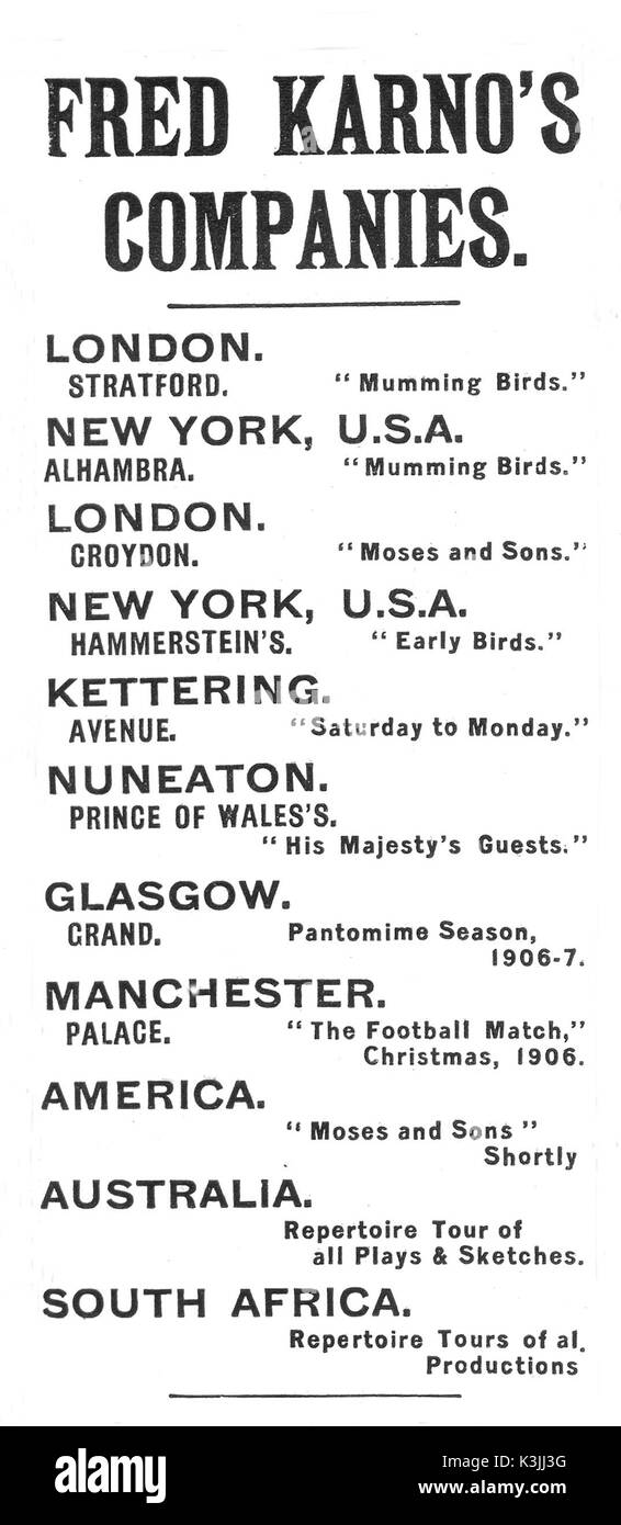 A Fred Karno Advertisement From 1906 Showing The Various Sketch Companies He Ran And Their Locations