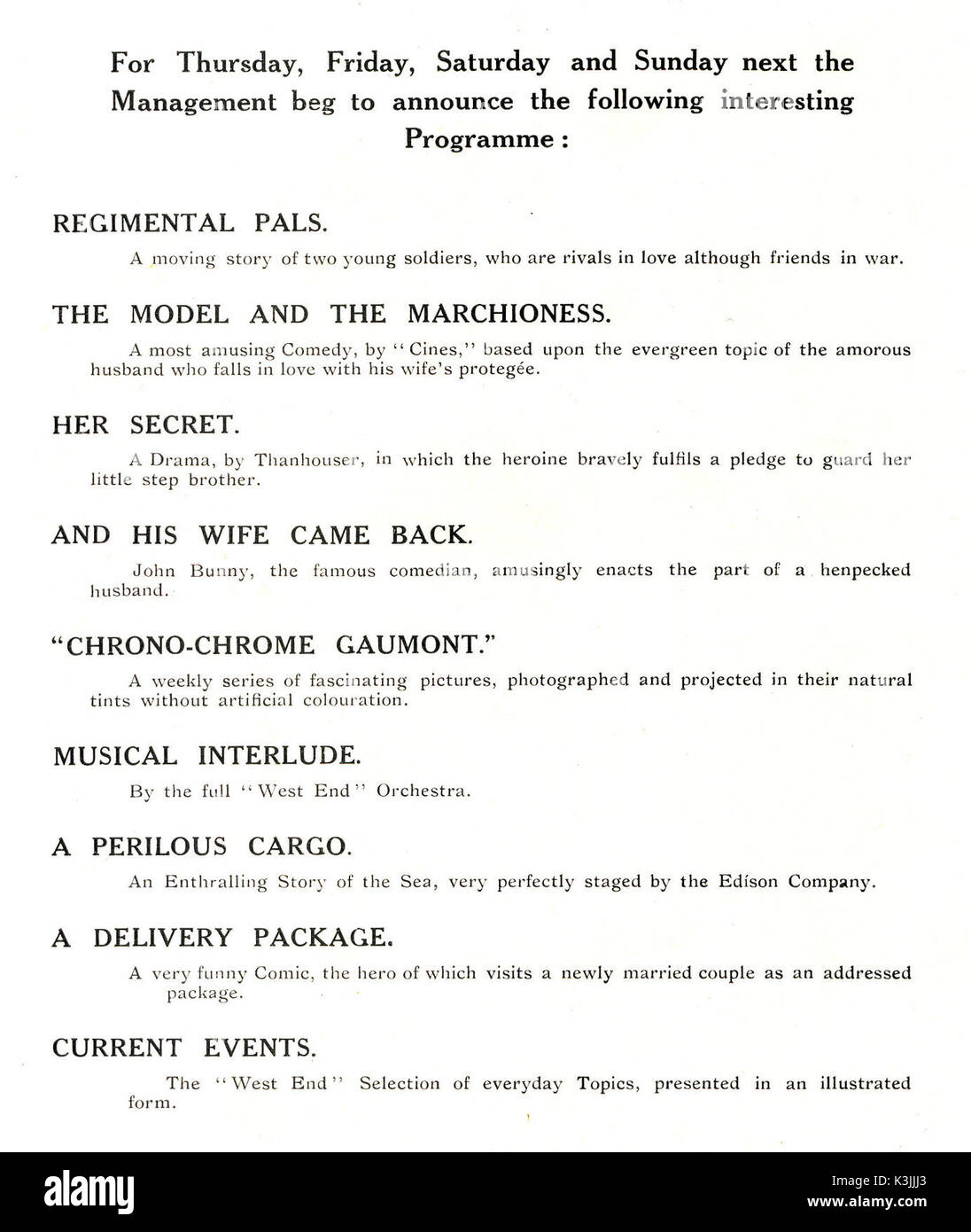TYPICAL PROGRAMME FOR THE WEST END CINEMA, COVENTRY STREET, LONDON 8th,9th,10th, 11th MAY 1913 It is fascinating to see the quantity and range of films shown in one programme at this time TYPICAL PROGRAMME FOR THE WEST END CINEMA, COVENTRY STREET, LONDON - Stock Image