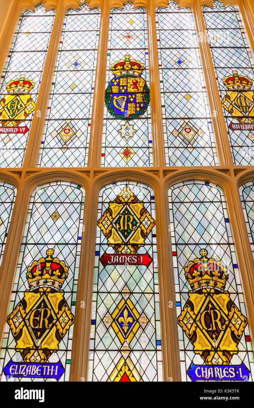 England, London, The City, St Andrew Undershaft Church, Stained Glass Window depicting Historical Royal Coats of Stock Photo
