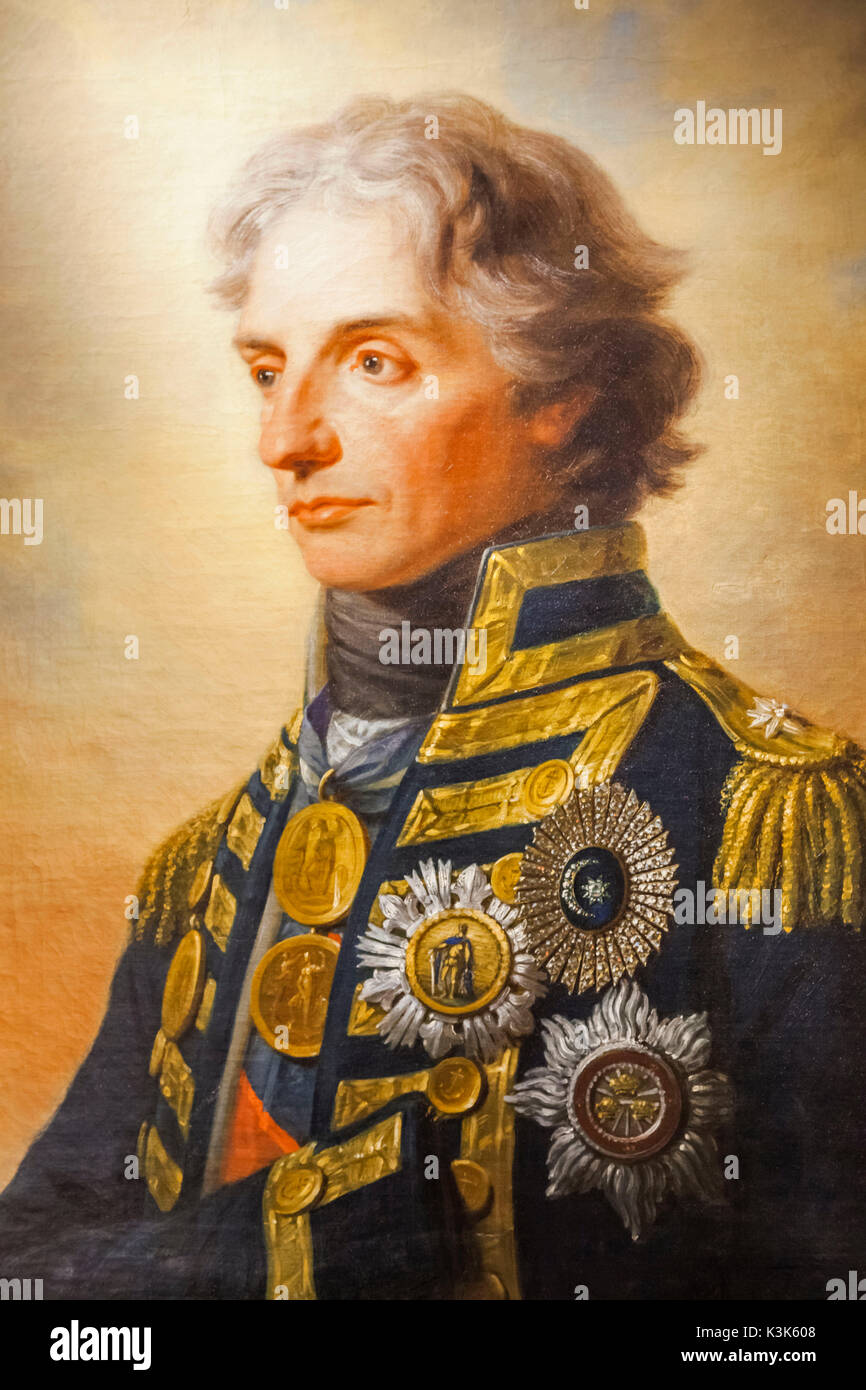 England, Hampshire, Portsmouth, Portsmouth Historic Dockyard, The National Museum, Royal Navy, Portrait of Nelson by Heinrich Fuger dated 1800 - Stock Image
