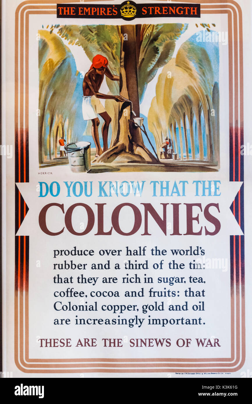 England, Hampshire, Portsmouth, Portsmouth Historic Dockyard, The National Museum, Royal Navy, British Empire Poster depicting The Benefits of Products from The Colonies - Stock Image