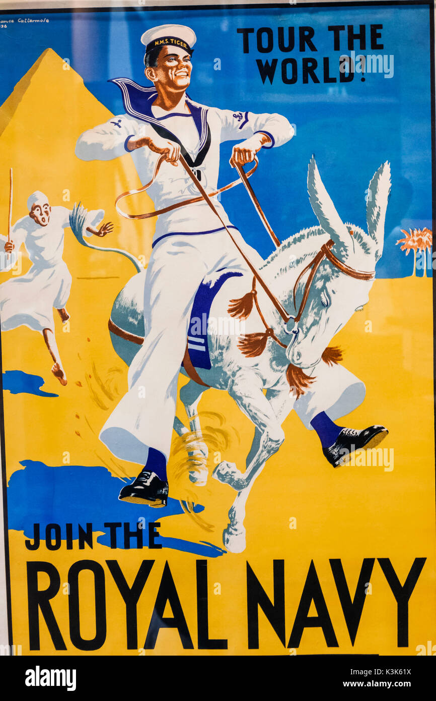 England, Hampshire, Portsmouth, Portsmouth Historic Dockyard, The National Museum, Royal Navy, Historic Royal Navy Recruitment Poster - Stock Image