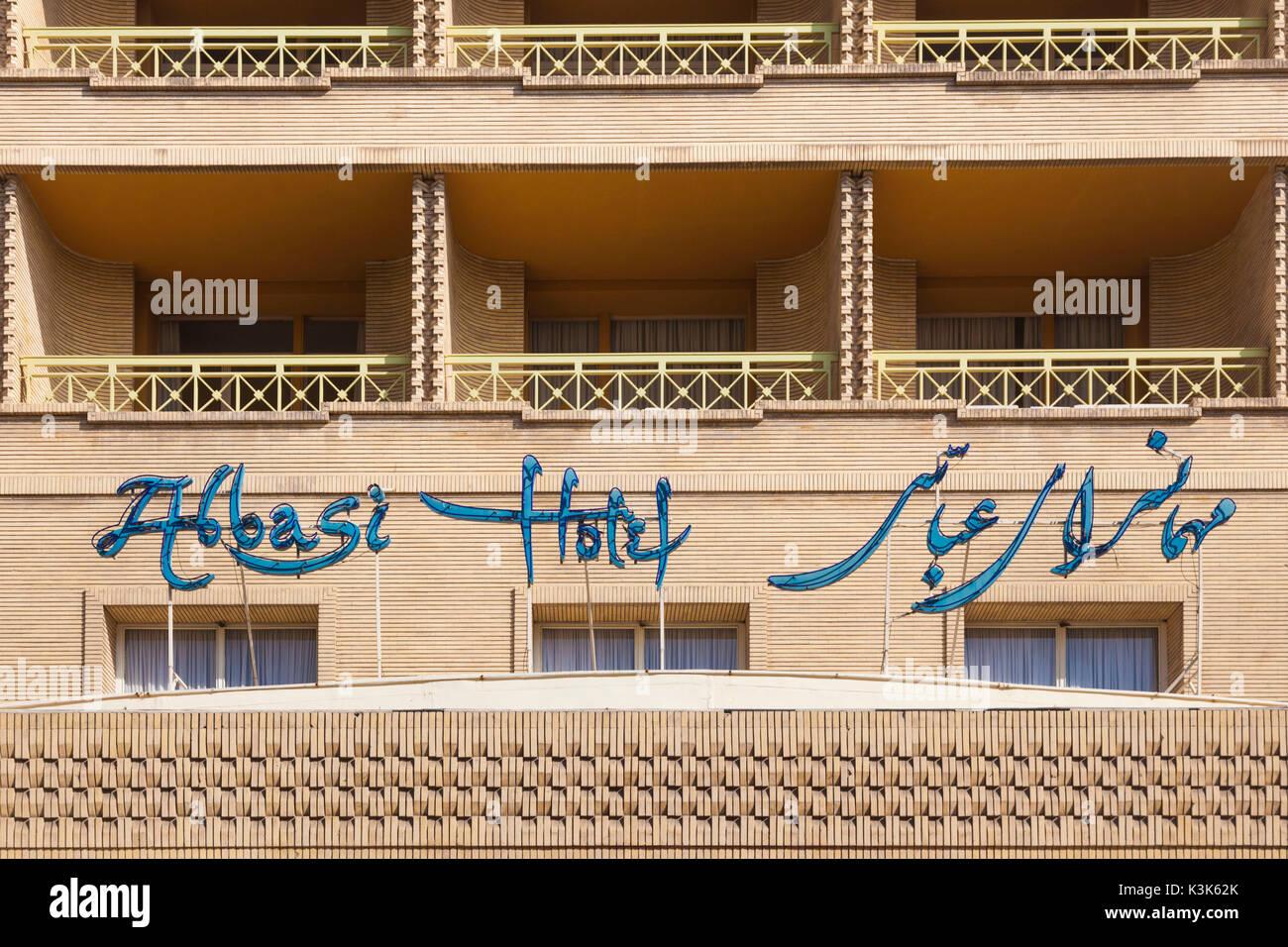 Iran, Central Iran, Esfahan, Abbasi Hotel, exterior sign - Stock Image