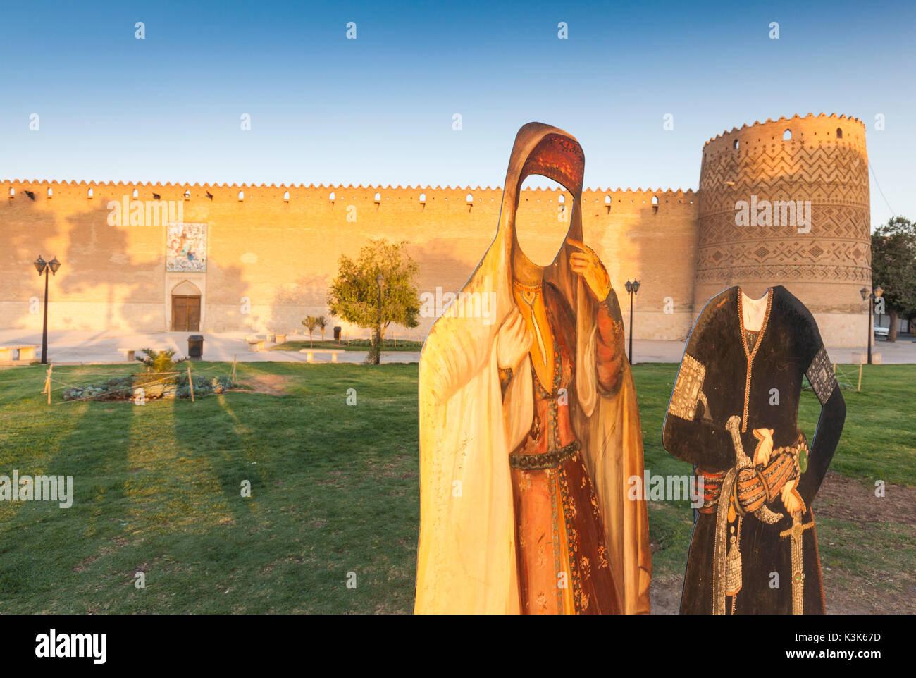Iran, Central Iran, Shiraz, Arg-e Karim Khan Citadel, fortress and photo-ops cutouts - Stock Image