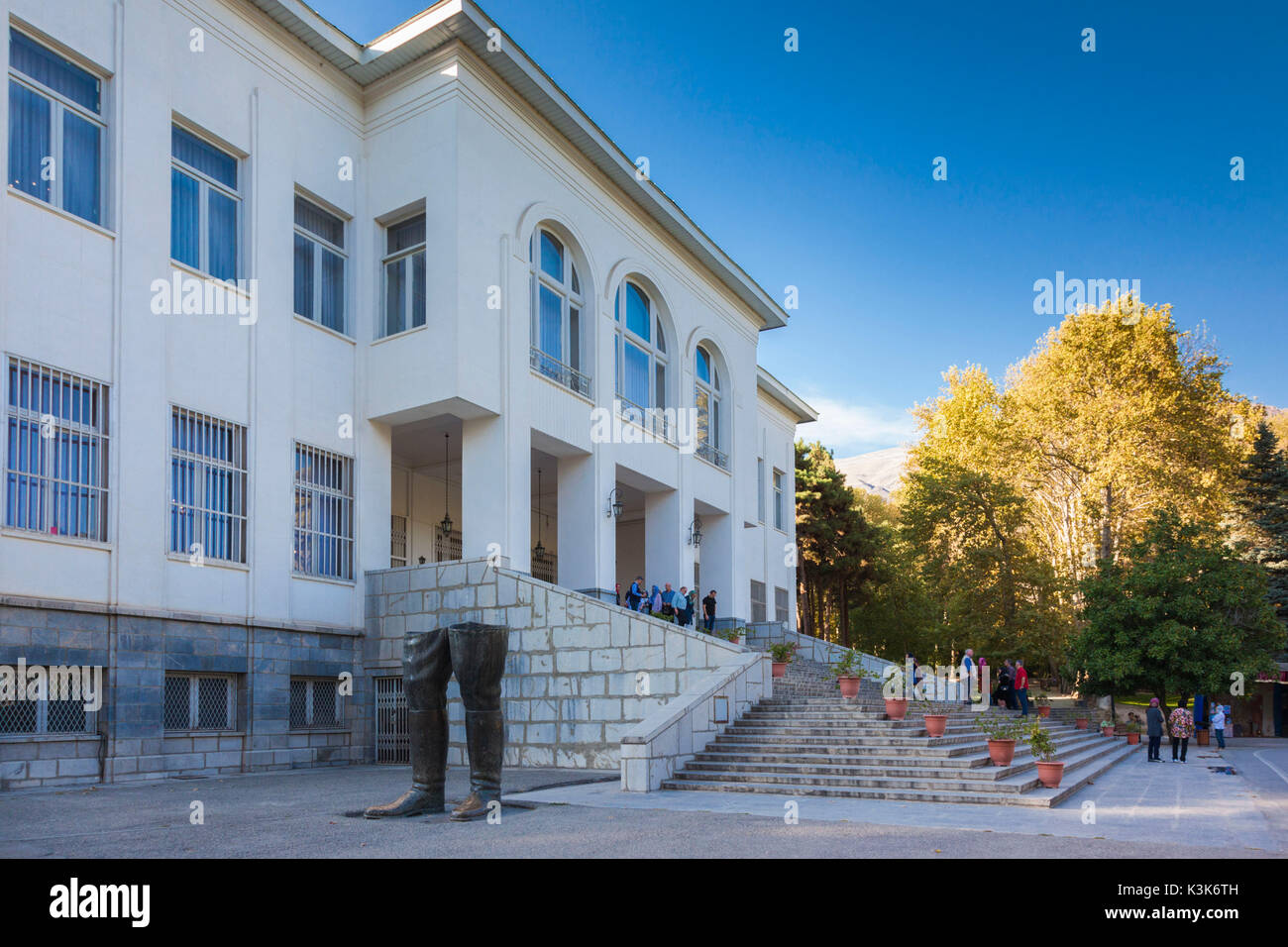 Iran, Tehran, Sa'd Abad Palace Complex, royal summer residence during the Pahlavi period, White Palace, Palace of the Nation, remnants of statue of Reza Shah damaged during the Islamic Revolution - Stock Image