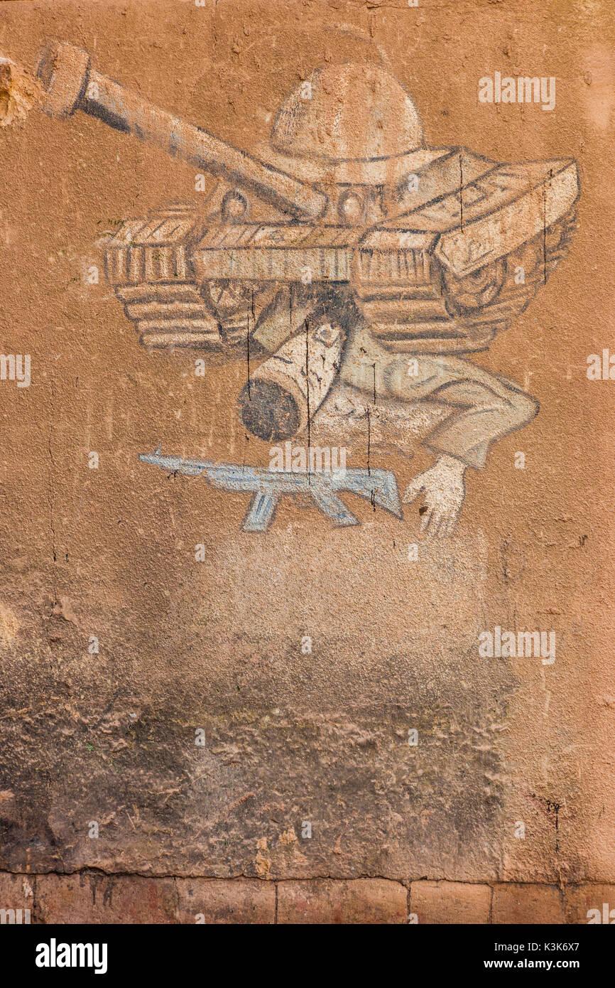 Iran, Southeastern Iran, Rayen, war propaganda graffiti - Stock Image