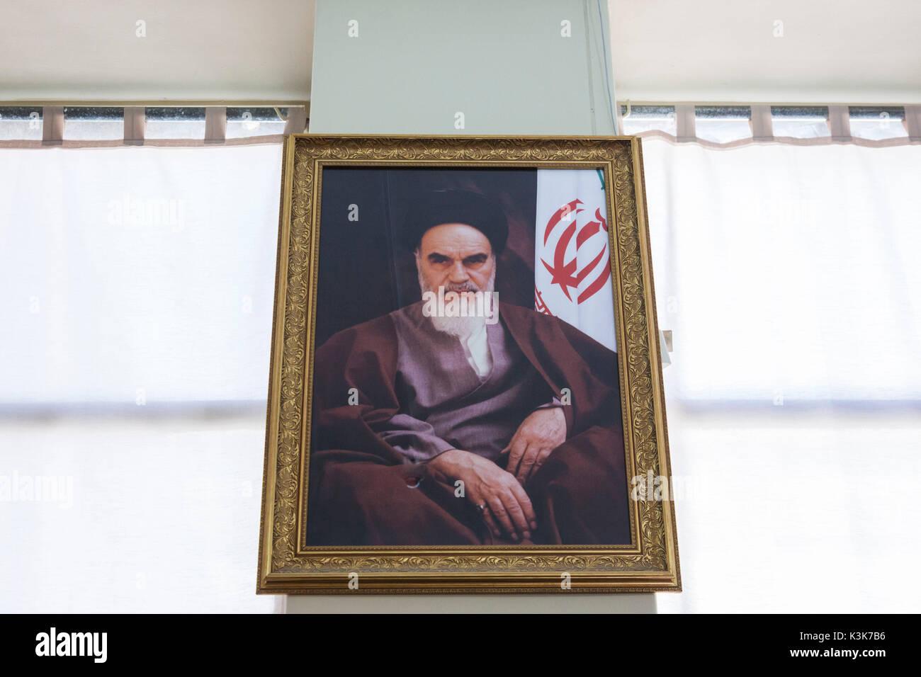 Iran, Tehran, portrait of fomer religious leader, Ayatollah Khomeini Stock Photo