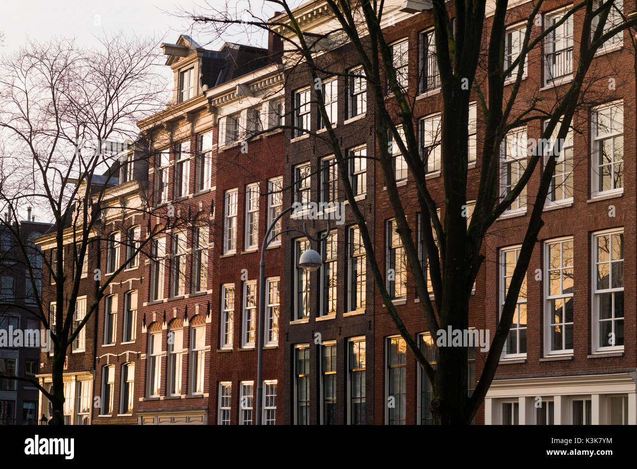 Netherlands, Amsterdam, Prinsengracht canal buildings, dawn - Stock Image