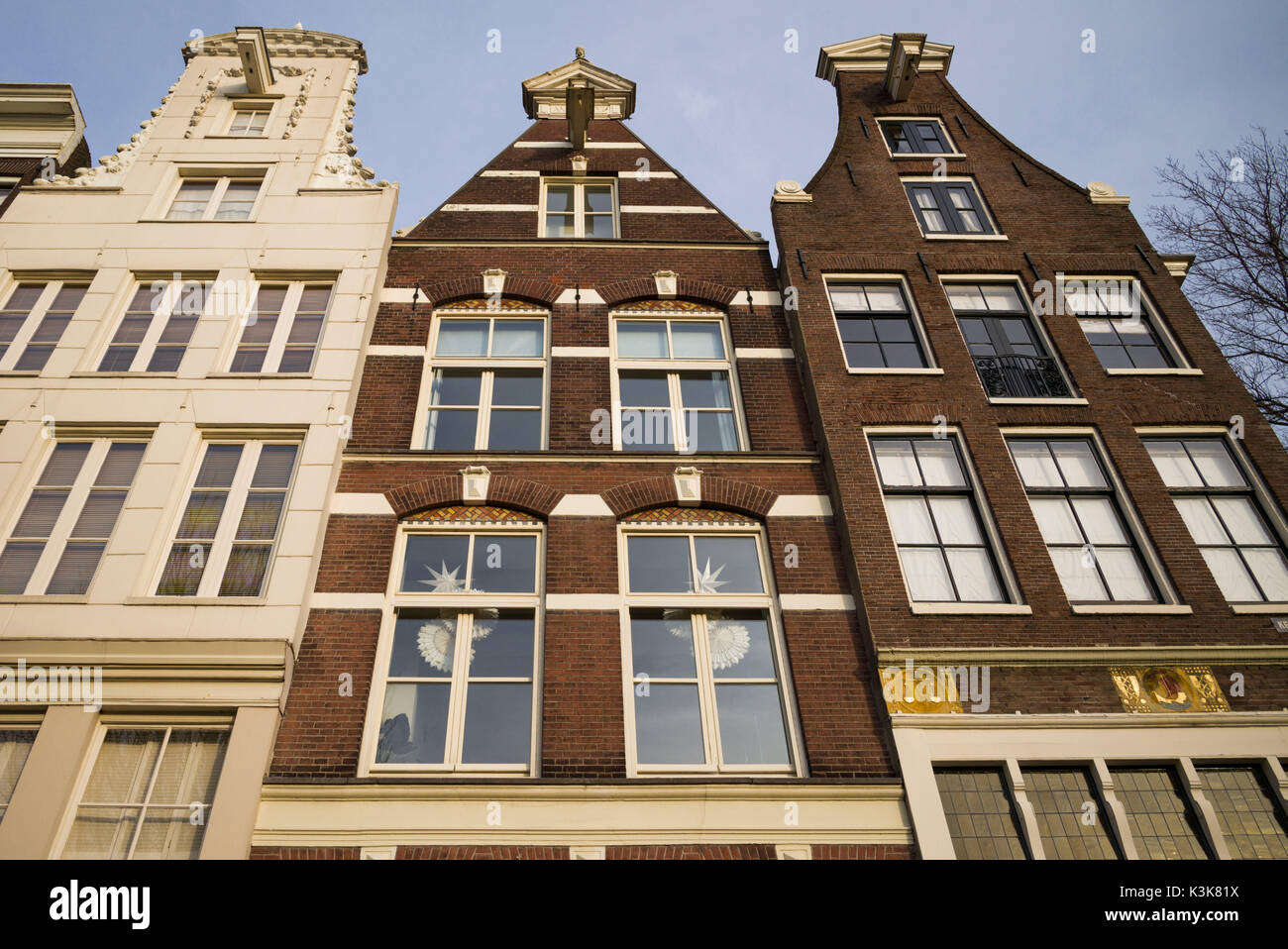 Netherlands, Amsterdam, Prinsengracht canal, building detail - Stock Image