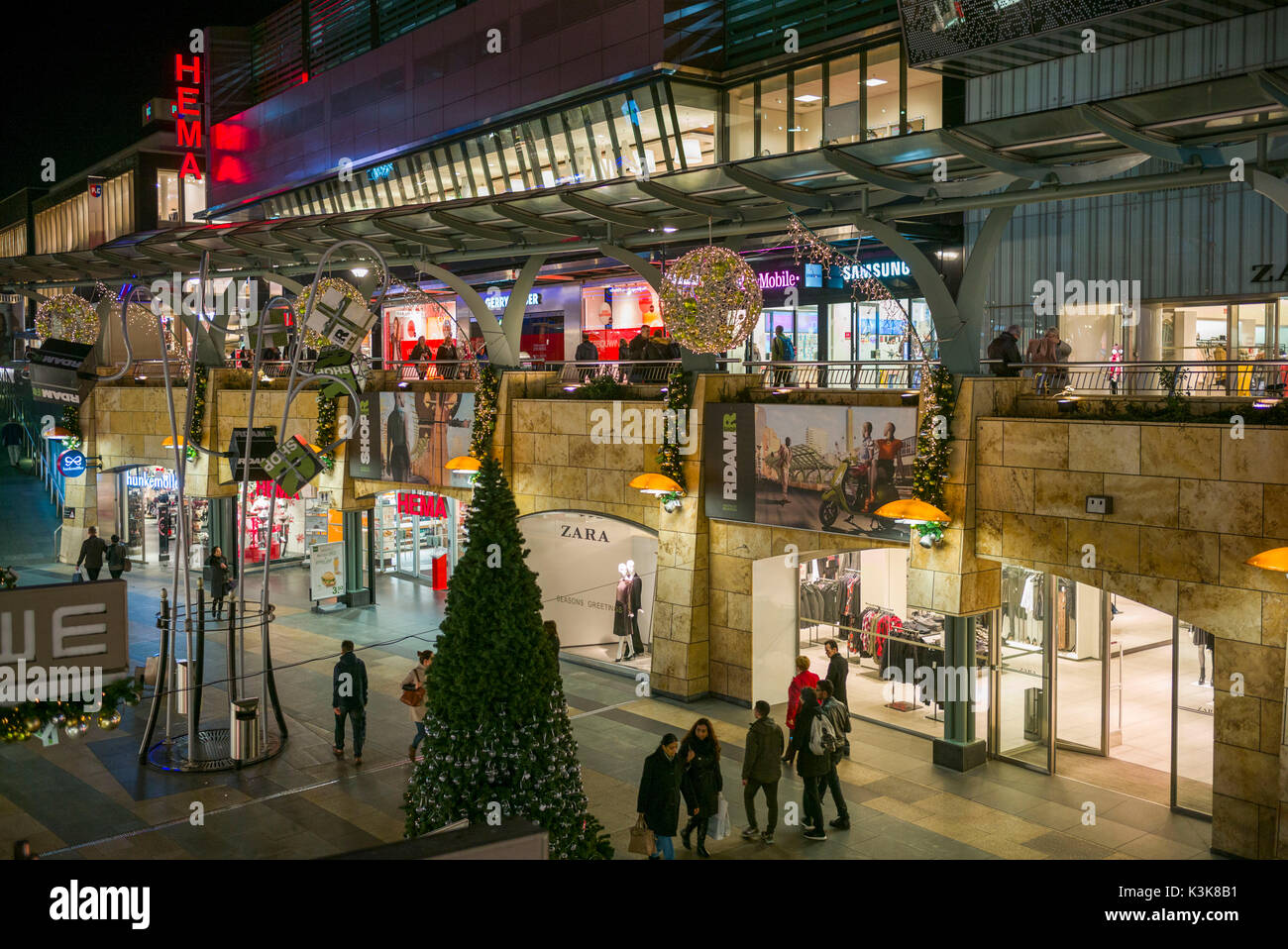 Netherlands Rotterdam Beursplein Shopping District Dusk Stock