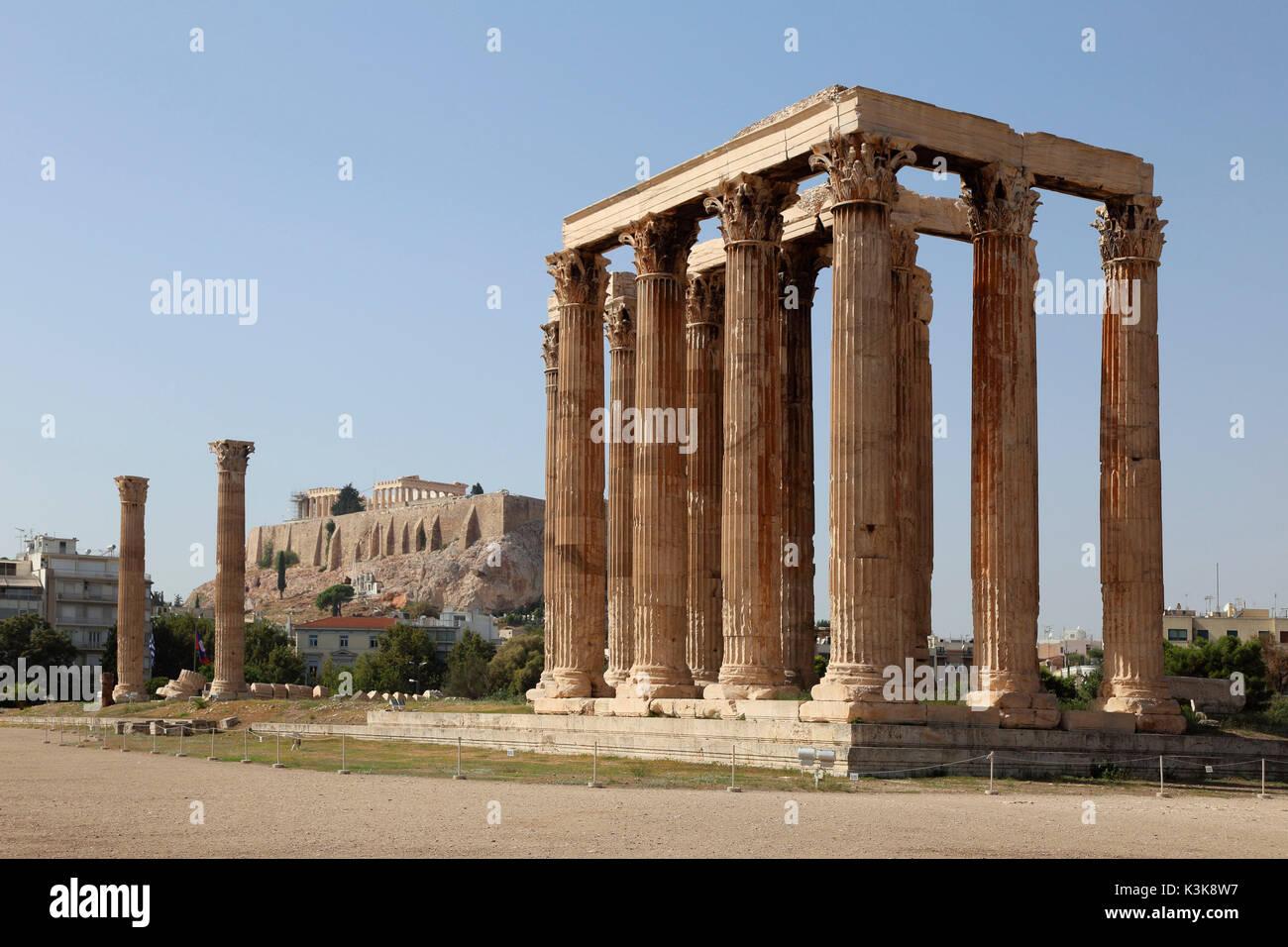 Greece Athens Temple of Olympian Zeus - Stock Image