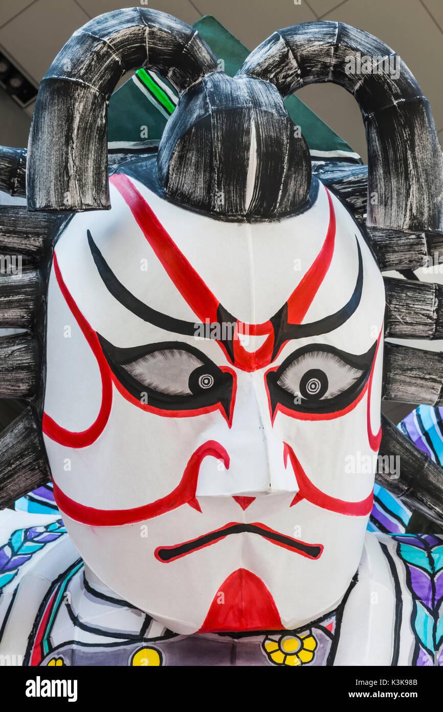 Japan, Hoshu, Tokyo, Asakusa, Nebuta Festival, Giant Kabuki Actor Face - Stock Image